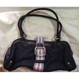 Pre-owned Cole Haan Catherine Black Leather Nylon Logo Buckle Front Hobo (Free Shipping)