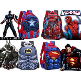 Marvel Hero Captain America/ Spiderman/ Batman/ Superman Bagpack