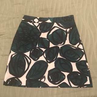 Zara green flower printing mini skirt