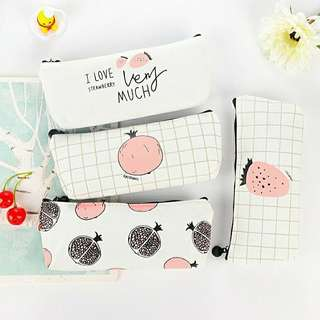 Strawberry pomegranate pink and white pencil case