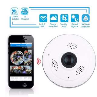 360 Degree Fisheye HD Panoramic IP Camera  Wireless Wifi 2.4GHz Security Camera Support IR Night Motion Detection