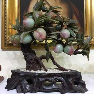 古董 擺設 玉石盤桃樹 朋友十多年前從日本購入 當時售價約三十萬日圓
