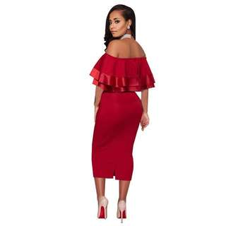 Sexy Off Shoulder Ruffled Wrap Long Party Dress