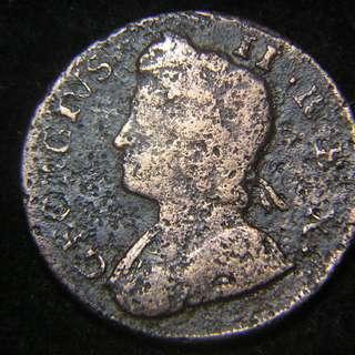1756年大英帝國不列顛尼亞女神坐像1/4便士銅幣(英皇佐治二世像)