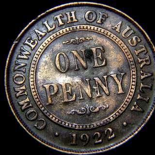 1922年英屬澳洲(Australia)1便士(Penny)銅幣(英皇佐治五世像)