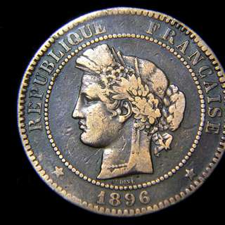 1896年法蘭西共和國豐收女神(Ceres)頭像10仙銅幣