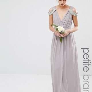 ASOS TFNC Petite Wedding Cold Shoulder Wrap Front Maxi Dress