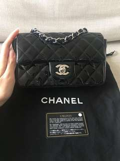 Authentic Chanel Rectangular Mini Flap Bag Black Patent