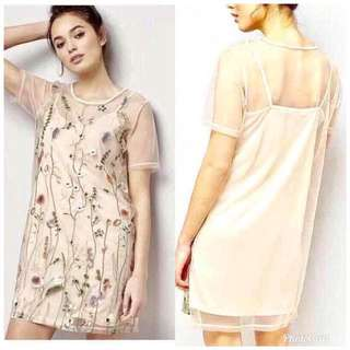 Embroidered 2 in 1 dress