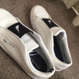 White leather nautica shoes