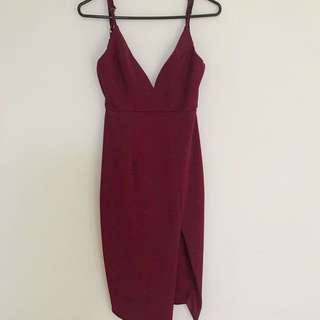 dissh burgundy dress xs