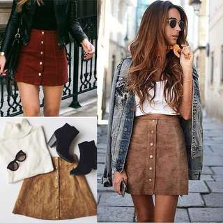 Rok mini skirt velvet brown uk s