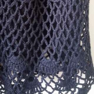 sexy black heavy crochet dress
