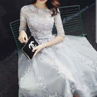 Grey embroidery mid length dress / evening gown