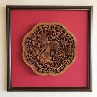 Antique framed up woodwork of a dragon