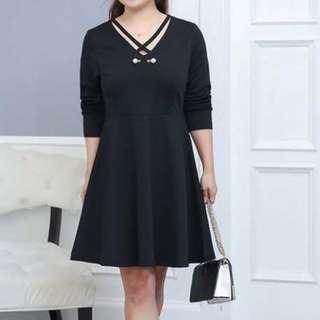 Plus size black long sleeve dress / evening gown