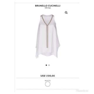 Authentic Brunello Cucinelli white sleeveless blouse