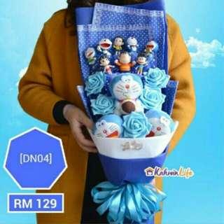 Doraemon flower soap bouquet
