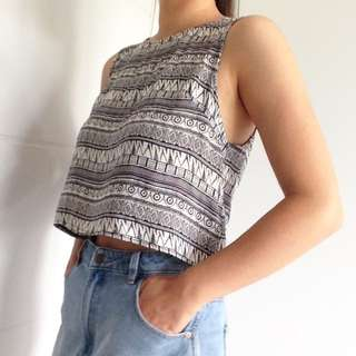 Crop tribal buttoned black and white sleeveless top