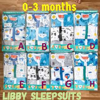 0-3m Libby Sleepsuits Pyjamas One Piece