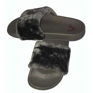 Gray Grey Fur Fluffy Slides