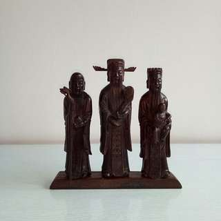 Republic Period Black Wood Carving Three Star height 15-17cm set of 3 $880