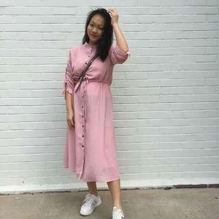 Ulzzang pink dress