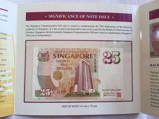 $25 singapore note! Commemorative MAS note