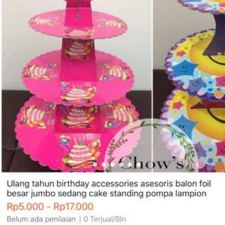 Ultah balon lilin led foil jumbo standing cake kue cupcakes bandung lampion tanaman rambat benang kasur