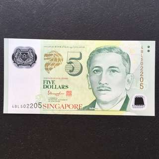 Radar Singapore $5 Polymer Portrait Note