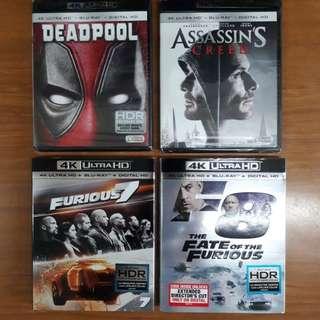 USA Blu Ray 4K UHD Bundle A - lot of 4