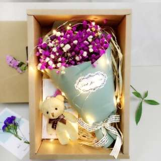 Gift -Flower + Bear+ Lights