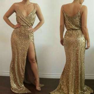 Gold long gown FOR RENT/SALE