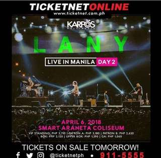 LANY UPPER BOX DAY 2 TICKET