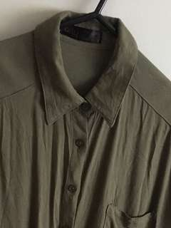 Olive button up singlet