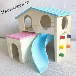 Hamster Playground Hideout Toy Pastel House with Slide