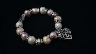 Classy Pandora Style Pearl Charm Bracelet