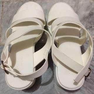Rubi White Chunky Heels Wedge Shoes