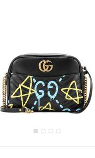 Gucci Ghost printed matelassé leather shoulder bag