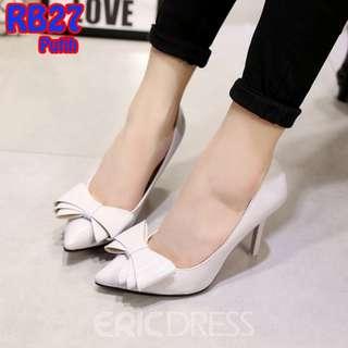 Sepatu Kantor Kerja Formal Polos Glossy 9cm Pantofel (RB27 Merah & Putih)