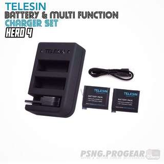 TELESIN Battery & Multi Charger Set for GoPro Hero 4
