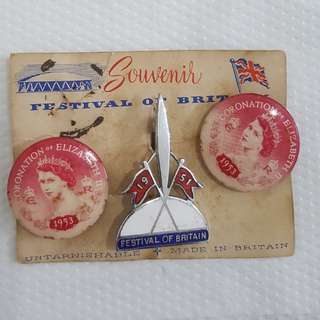 Vintage pins from 1951 Britain festival & 1953 queen coronation