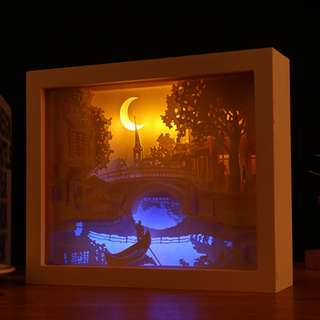 DIY Lighted Paper Art Frame - Brdige White Wood Frame