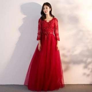 Floral v shape wine red dress / evening gown