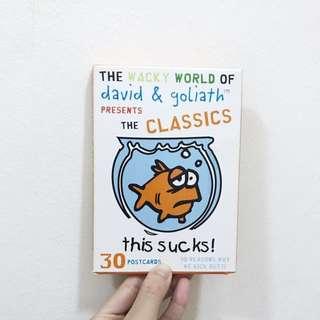 BNIB David & Goliath Graphic The Classics This Sucks Postcard Set of 30