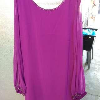 Forever 21 Purple Long Sleeves Dress