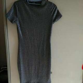 Metallic Grey Bodycon Dress