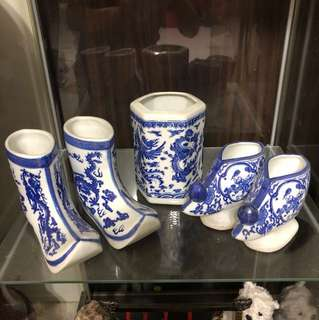 Blue vases - any 2 pair/sets for $30