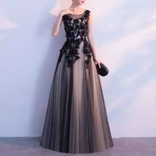Black floral elegant dual tone dress / evening gown