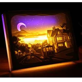 DIY Lighted Paper Art Frame - Seaside Acrylic Frame